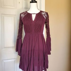 American Eagle Lace Bell Sleeve Mini Dress